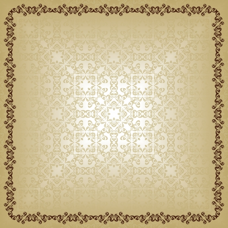 Light seamless background with vintage frame   Vector