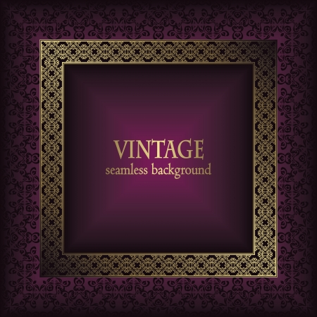 Vintage seamless background with frame in retro style. Seamless wallpaper. Stylish design     Stock Vector - 17931072