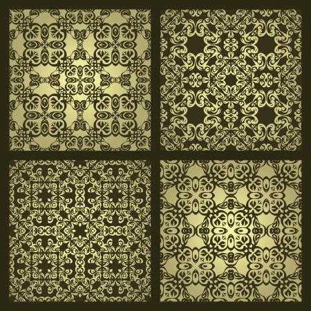 bronze texture: Set of four vintage damask wallpapers