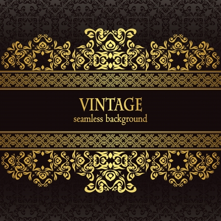 Vintage seamless wallpaper with a gold frame. Can be used as invitation