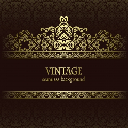 Vintage seamless wallpaper with a frame. Can be used as greeting card Stock Vector - 17931059