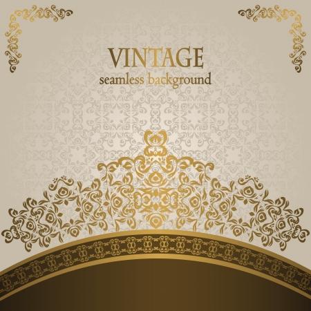 Stylish wedding invitation with vintage pattern on a light background