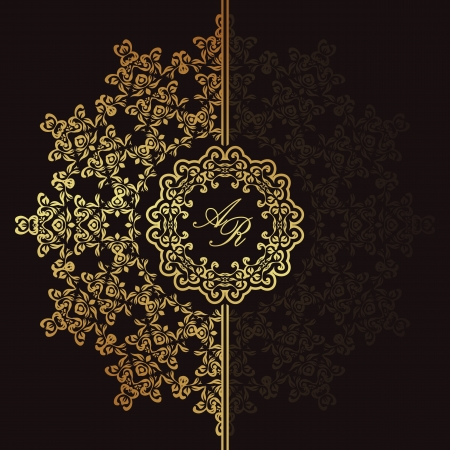 arabesque: Elegant floral pattern on a dark background. Stylish design. Can be used as a greeting card or wedding invitation