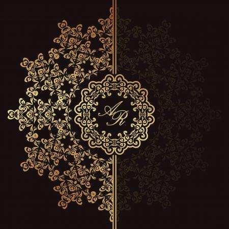 arabesque: Elegante motivo floreale su uno sfondo scuro. Design elegante. Pu� essere usato come un biglietto di auguri o un invito di nozze