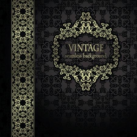 bodas de plata: Vintage fondo sin fisuras con un marco de oro y cinta de estilo retro