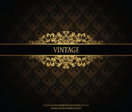 gold brown: Vintage seamless wallpaper with a ribbon
