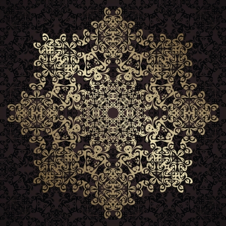 Round lace pattern in gold. Vintage design. Retro style   Vector