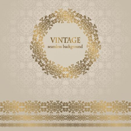 Vintage seamless background with frame and ribbon. Seamless wallpaper. Retro design