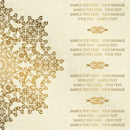 royal wedding: Stylish wedding invitation with round lace pattern on a light background with swirls