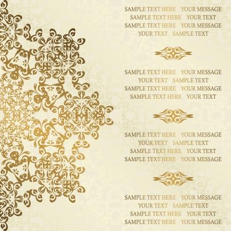 Stylish wedding invitation with round lace pattern on a light background with swirls