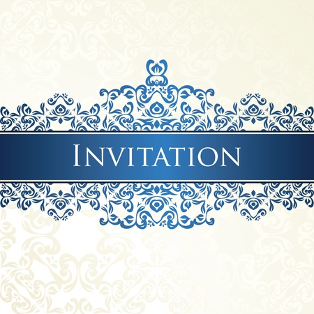 White seamless background with vintage ornament in blue     Vector