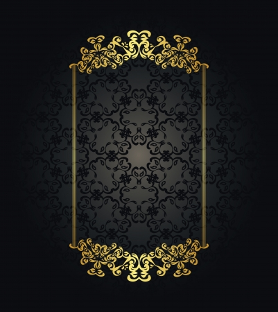 Vintage seamless wallpaper with a gold frame in retro style. Stylish design     Vector
