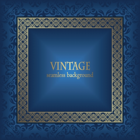 Vintage seamless background with frame. Seamless wallpaper. Stylish design