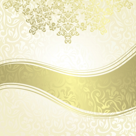bronze background: Vintage damask seamless background with a ribbon and  lace pattern. Can be used as invitation or a greeting card