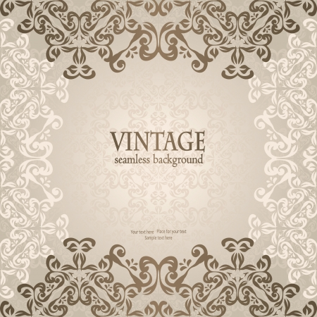 Seamless background in pastel colors with vintage ornament      Vector