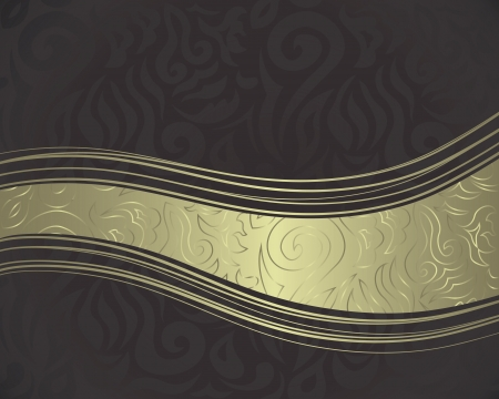 Vintage damask seamless background with a ribbon. Can be used as invitation or a greeting card    Vector