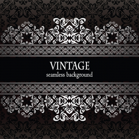 black and silver: Vintage seamless wallpaper with a silver frame. Can be used as invitation