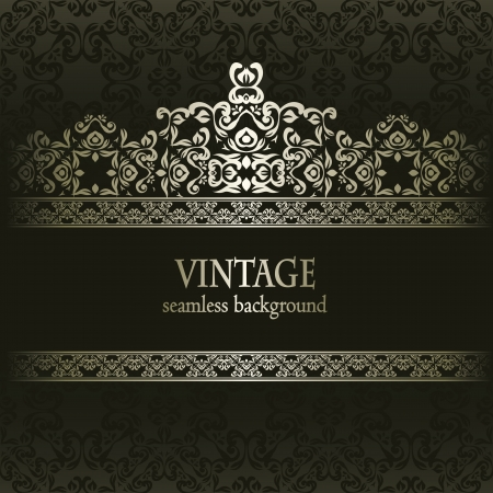 vintage background pattern: Vintage seamless wallpaper with a frame. Can be used as greeting card, invitation
