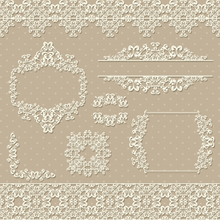 floral corner: set of vintage elements and frames  Illustration