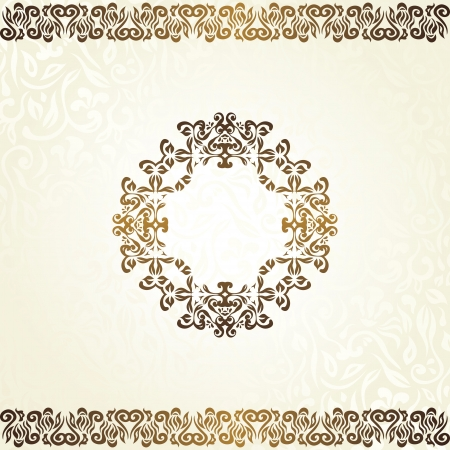 Vintage floral background with frame in gold. Can be used as a card    Stock Vector - 18131405