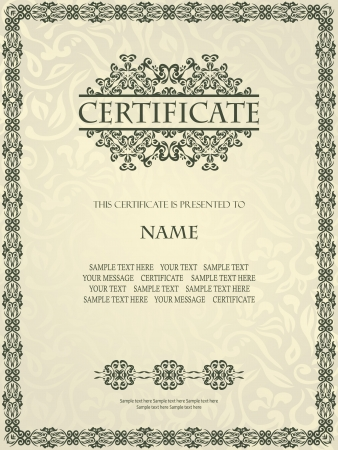 certificate background: Vintage frame in retro style. Can be used as certificate