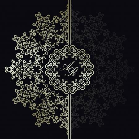 古美術品: 暗い背景にエレガントな花柄。スタイリッシュなデザイン。結婚式の招待状として使用することができます。  イラスト・ベクター素材