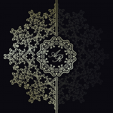 antique background: Elegant floral pattern on a dark background. Stylish design. Can be used as a wedding invitation
