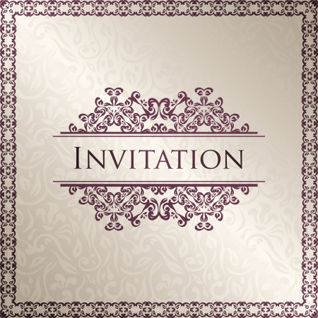 Vintage seamless floral background with frame. Can be used as invitation    Stock Vector - 18151705