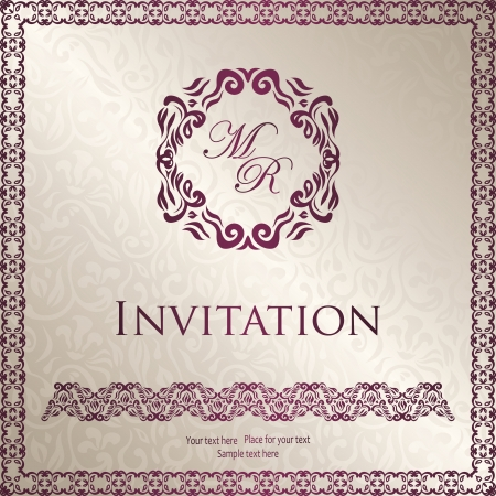 Vintage floral background with frame. Can be used as invitation Stock Vector - 18151605