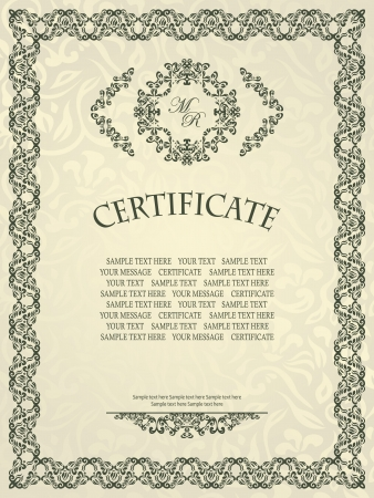 Vintage frame. Retro style. Can be used as certificate or diploma     Vector