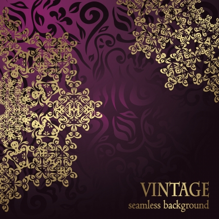 Stylish wedding invitation with round lace pattern on a violet floral background     Vector