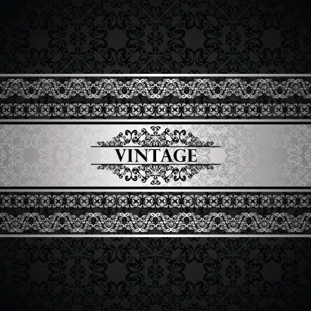 Vintage seamless wallpaper with a silver frame. Can be used as invitation or card Stock Vector - 18383855
