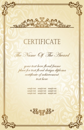 certificate design: Vintage frame on a floral background in retro style. Can be used as certificate