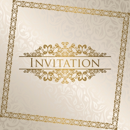 Vintage seamless floral background with frame. Can be used as invitation Stock Vector - 18496746