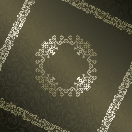 Vintage floral background with frame. Can be used as invitation or card    Vector
