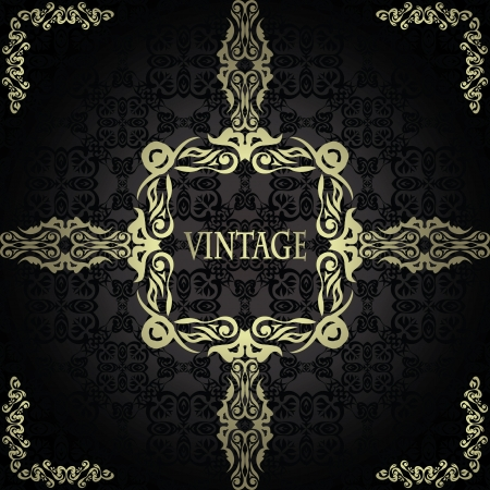 Vintage seamless background with a frame in retro style Stock Vector - 18496752