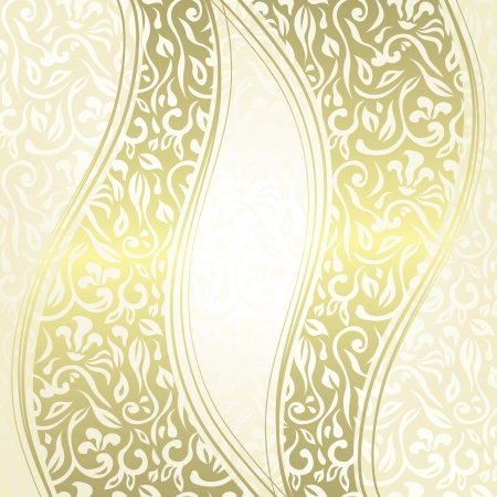 Vintage damask seamless background with a ribbons. Can be used as invitation or a greeting card