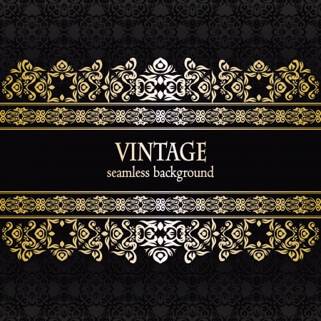 Vintage seamless wallpaper with a ribbon. Can be used as invitation Stock Vector - 18496753