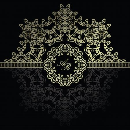 Elegant floral pattern on a dark background. Original design       Illustration