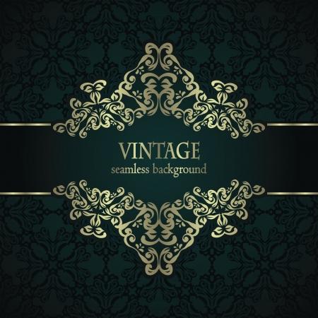 art deco border: Vintage seamless background with an elegant frame in retro style     Illustration