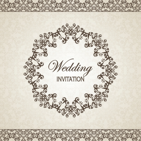 Vintage floral background with frame. Can be used as a wedding invitation    Stock Vector - 18753788