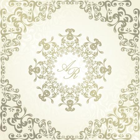 Vintage floral background with frame. Wedding invitation    Stock Vector - 18753794
