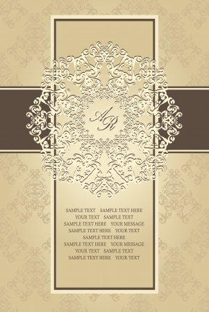 Seamless background with vintage frame and lace pattern in retro style