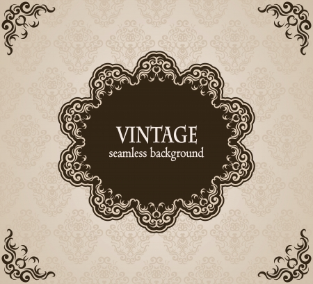 Vintage background with frame. Can be used as card or invitation    Stock Vector - 19197181