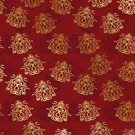 Vintage seamless wallpaper on a red background. Seamless background. Vintage design      Vector