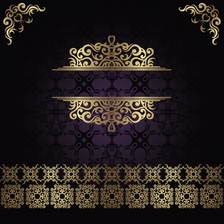 Vintage seamless damask background with a gold decoration               Illustration