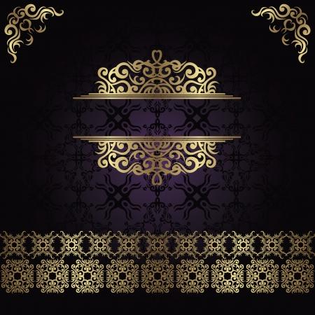 art deco design: Vintage seamless damask background with a gold decoration               Illustration