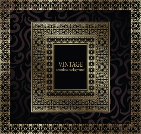 Vintage seamless wallpaper with frame in retro style       Vector