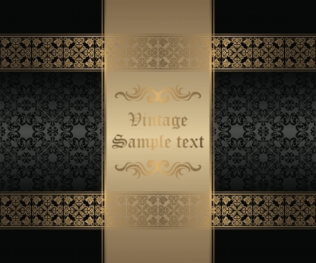 Stylish gold frame on a black background. Original style          Vector