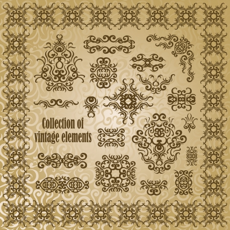 foliate: Collection of vintage elements for decoration